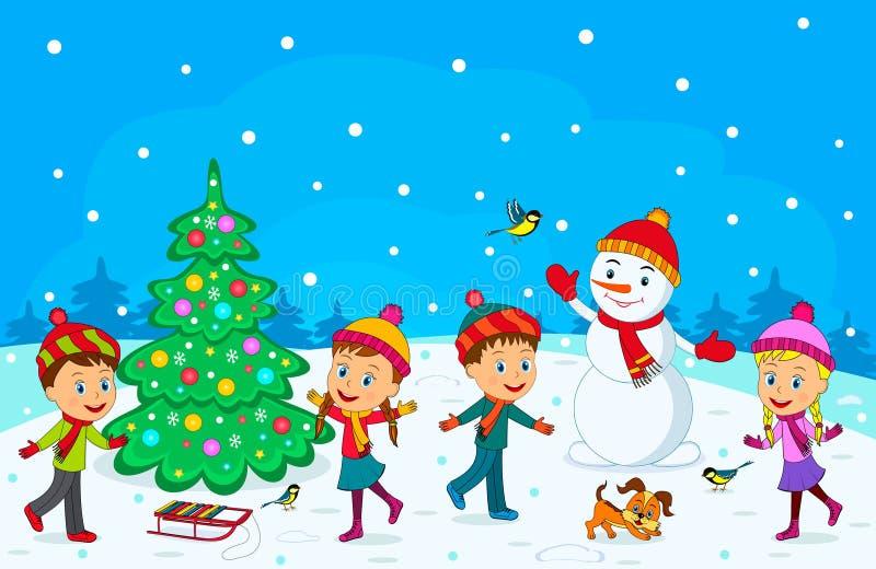 I ragazzi e le ragazze giocano nell'inverno illustrazione vettoriale