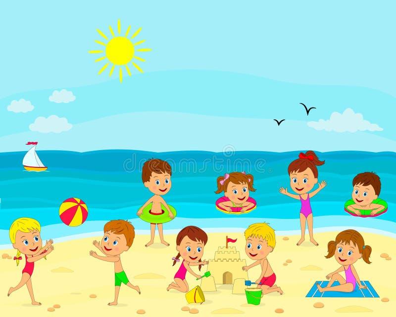 I ragazzi e le ragazze giocano sulla spiaggia illustrazione di stock
