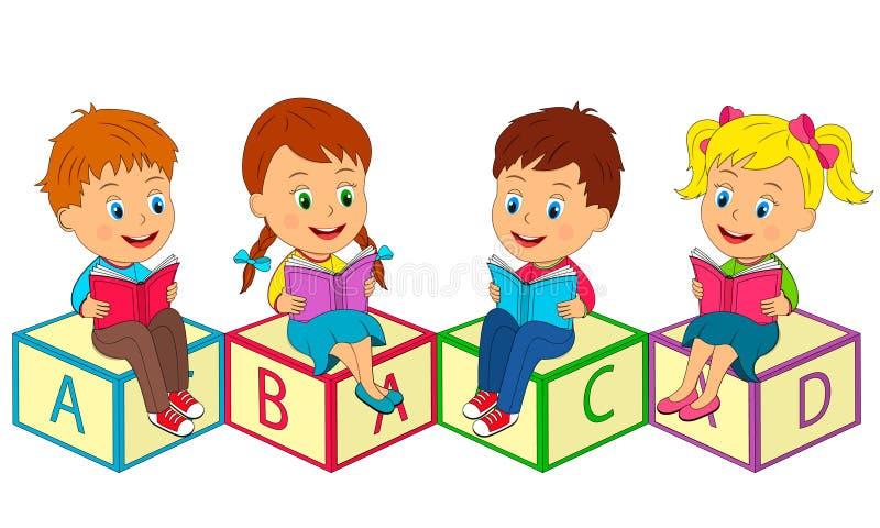 I ragazzi e le ragazze si siedono sui cubi royalty illustrazione gratis