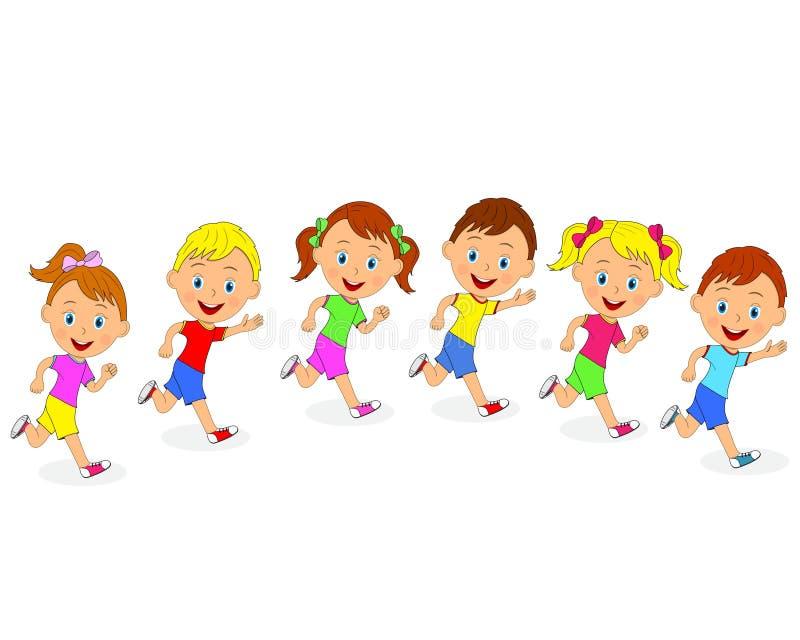 I ragazzi e le ragazze stanno correndo sui precedenti bianchi royalty illustrazione gratis