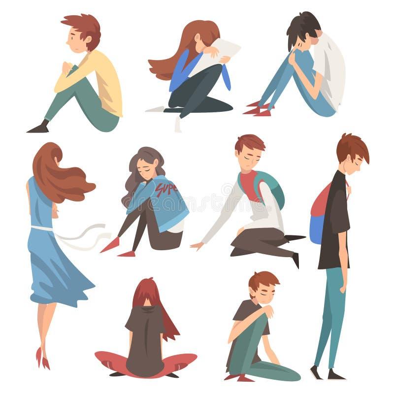 I ragazzi e le ragazze tristi infelici hanno messo, adolescenti deprimenti, soli, ansiosi, abusati che hanno illustrazione di vet royalty illustrazione gratis