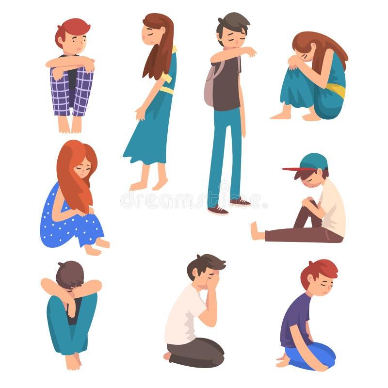 I ragazzi e le ragazze tristi infelici hanno messo, adolescenti deprimenti, soli, ansiosi, abusati che hanno problemi, vettore so illustrazione vettoriale