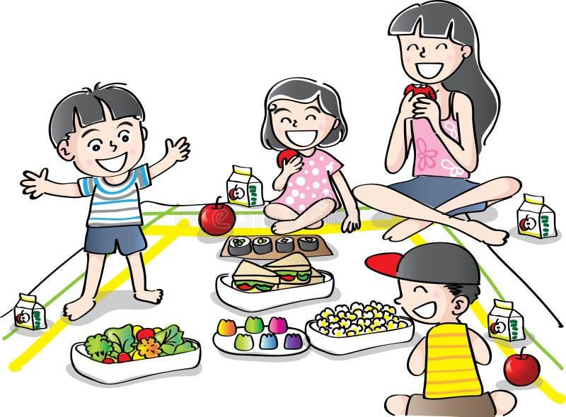 I ragazzi e le ragazze vanno fare un picnic illustrazione vettoriale
