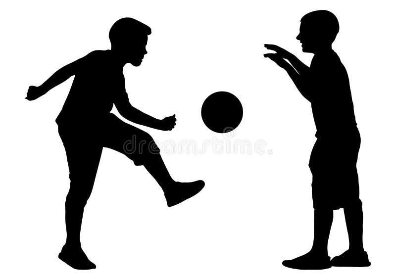 I ragazzi giocano nel calcio della palla, siluetta, vettore illustrazione vettoriale