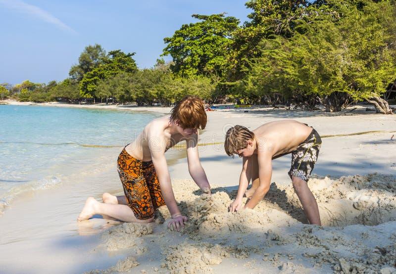 I ragazzi stanno giocando alla spiaggia con la sabbia e le figure di costruzione immagine stock