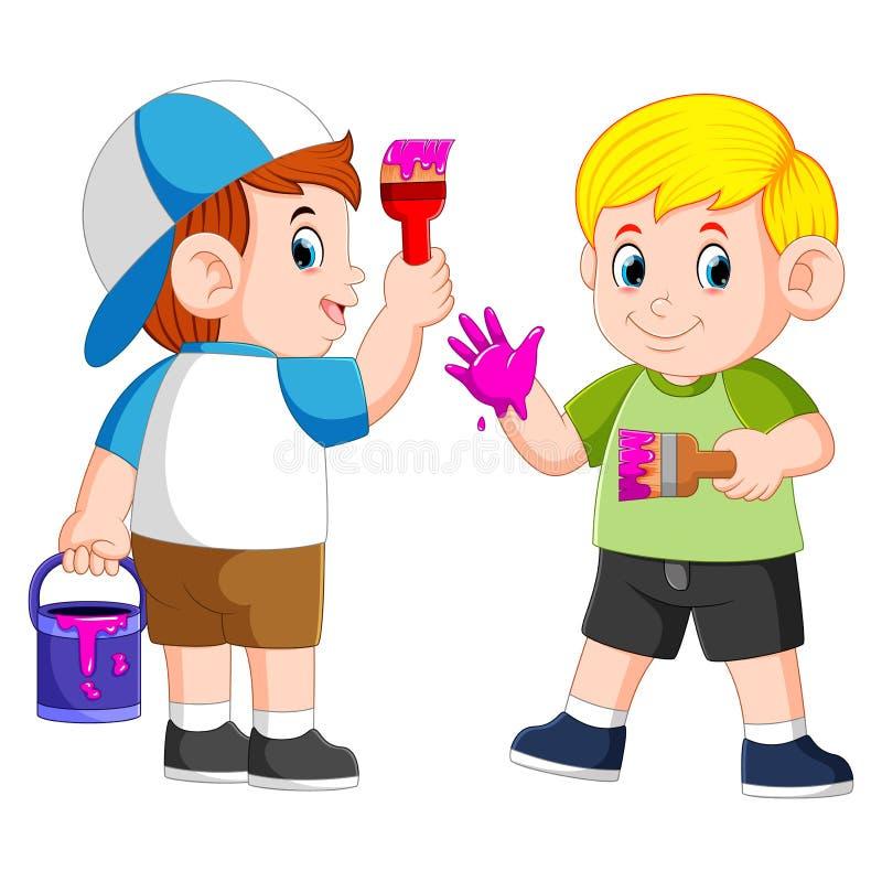 I ragazzi stanno giocando con la pittura porpora e la spazzola royalty illustrazione gratis