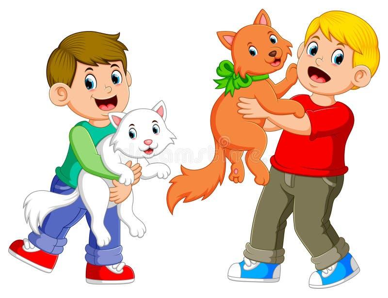 I ragazzi stanno giocando con i loro gatti con il fronte felice illustrazione di stock