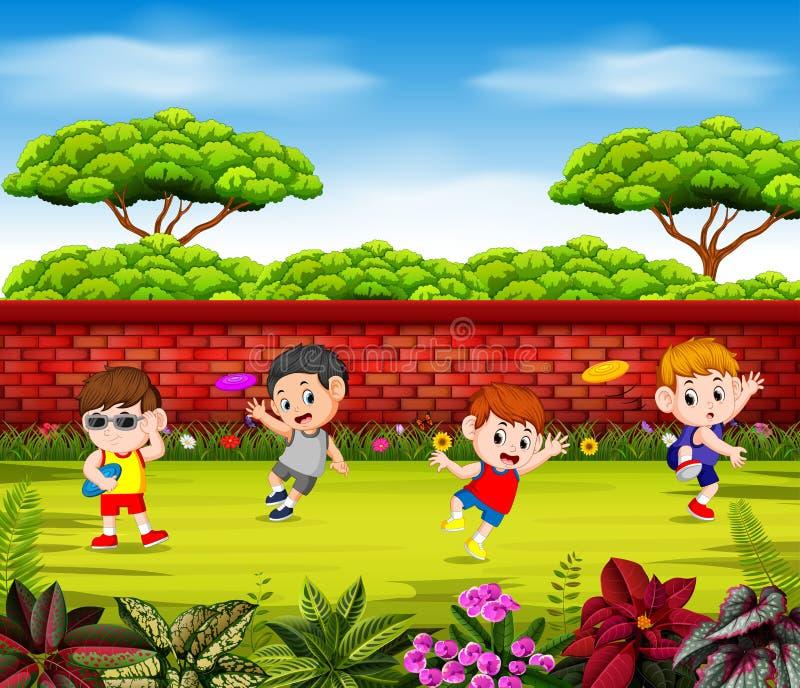 I ragazzi stanno giocando il frisbee e stanno saltando vicino alla parete rossa illustrazione vettoriale