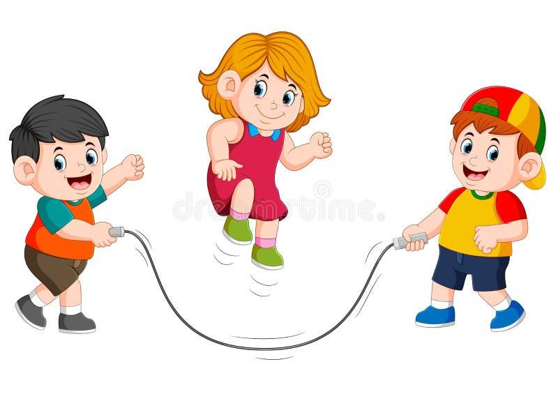 i ragazzi stanno giocando la corda di salto con la ragazza che salta su  illustrazione di stock