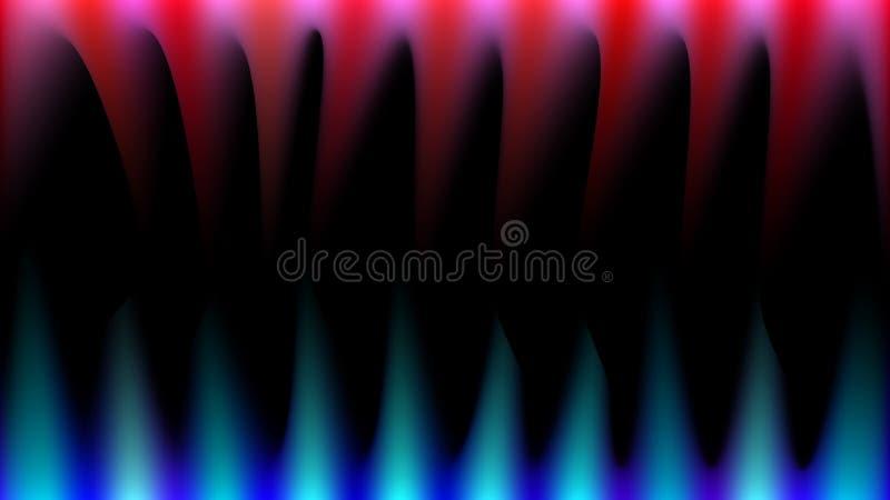 I raggi di luce magici luminosi, astratti, multicolori, blu, rossi e rosa gradiscono il fuoco, le zanne taglienti, stalattiti su  illustrazione di stock