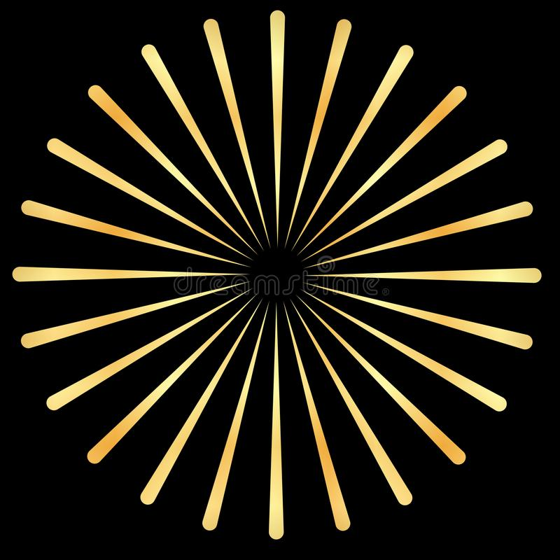 I raggi dorati, oro irradia l'elemento Sprazzo di sole, forma dello starburst Irradiandosi, parte radiale dorata, fondente le lin royalty illustrazione gratis