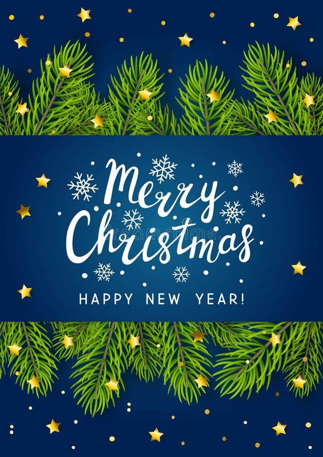 I rami dell'albero di Natale rasentano il blu illustrazione di stock
