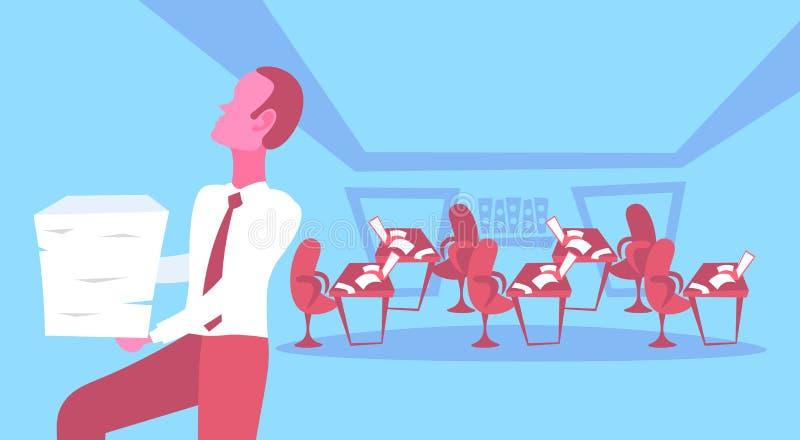 I rapporti di trasporto di lavoro eccessivo di sforzo di carico di lavoro di ufficio della pila di documenti cartacei dell'uomo d illustrazione vettoriale