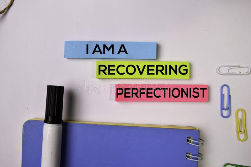 I am A Recovering Perfectionist on sticky notes isolated on white background royalty free stock photo