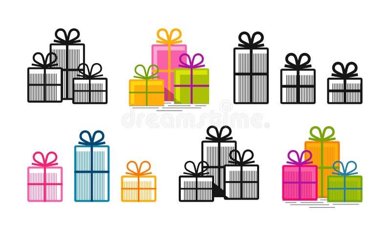 I regali, hanno messo le icone Sorpresa, acquisto, simbolo della scatola o logo Illustrazione di vettore illustrazione di stock
