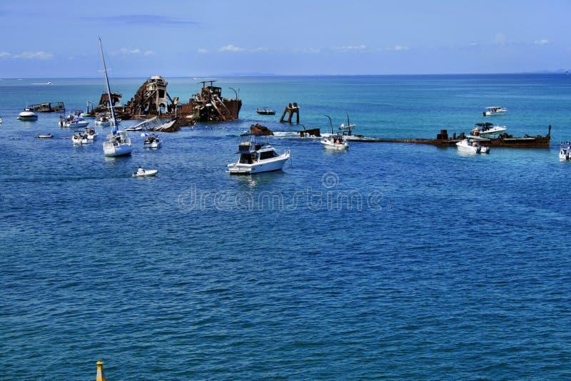 I relitti di Tangalooma Isola di Moreton fotografia stock