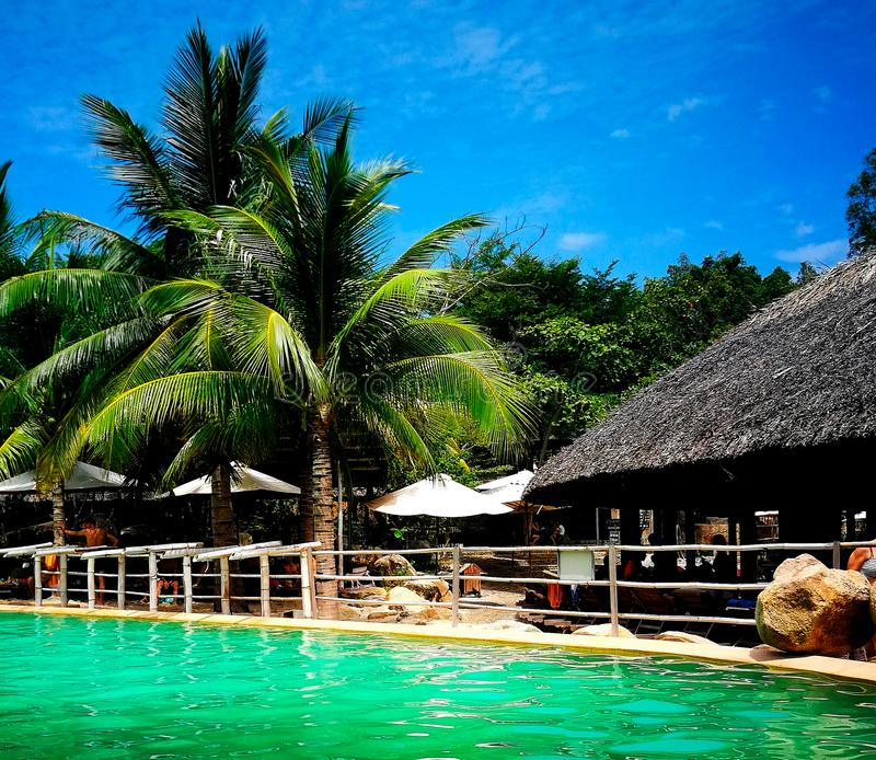 I-Resort Nha TRANG Nha Trang, Vietnam, Spa resort-mud mineral springs I-resort, mineral water pool. Pool with palm trees on the shore royalty free stock photos