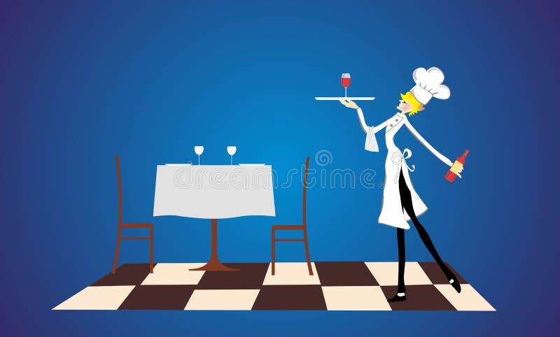I restaurangen stock illustrationer