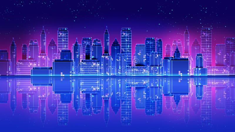 I retro anni 80 futuristici della città del grattacielo disegnano l'illustrazione 3d royalty illustrazione gratis