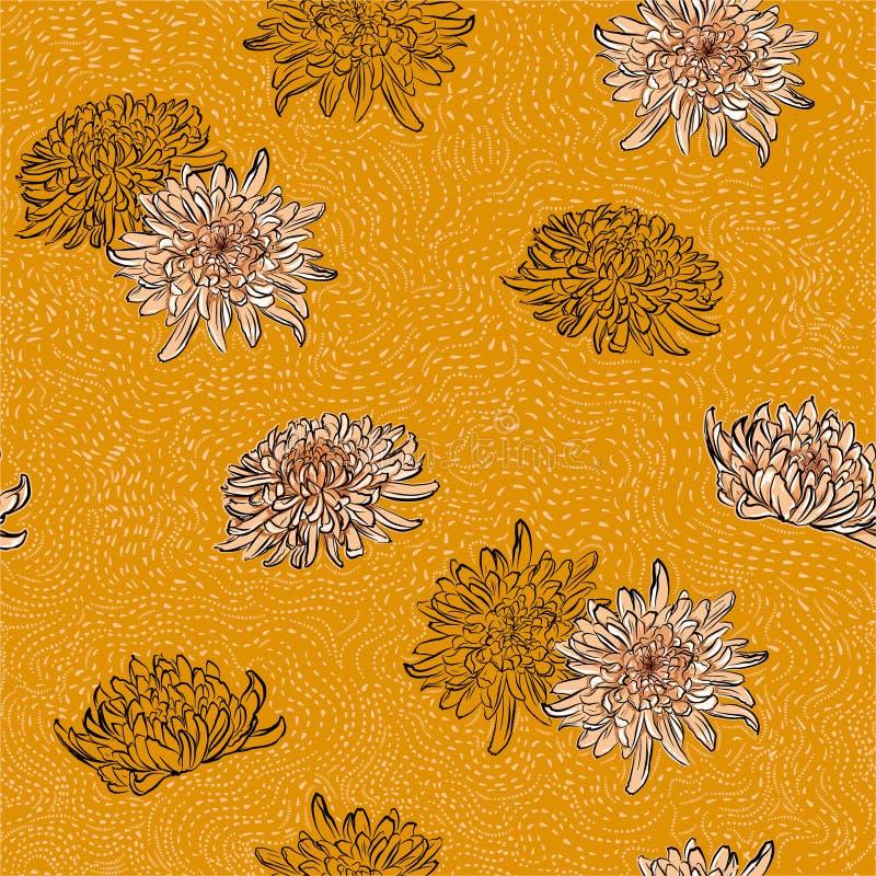 I retro pois disegnati a mano di fioritura dei fiori giapponesi blu del crisantemo allineano l'illustrazione senza cuciture del m illustrazione vettoriale