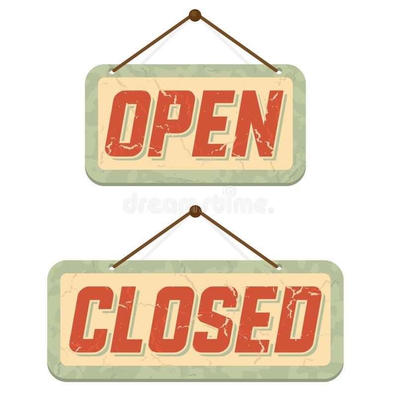 I retro segni si aprono e chiuso illustrazione di stock