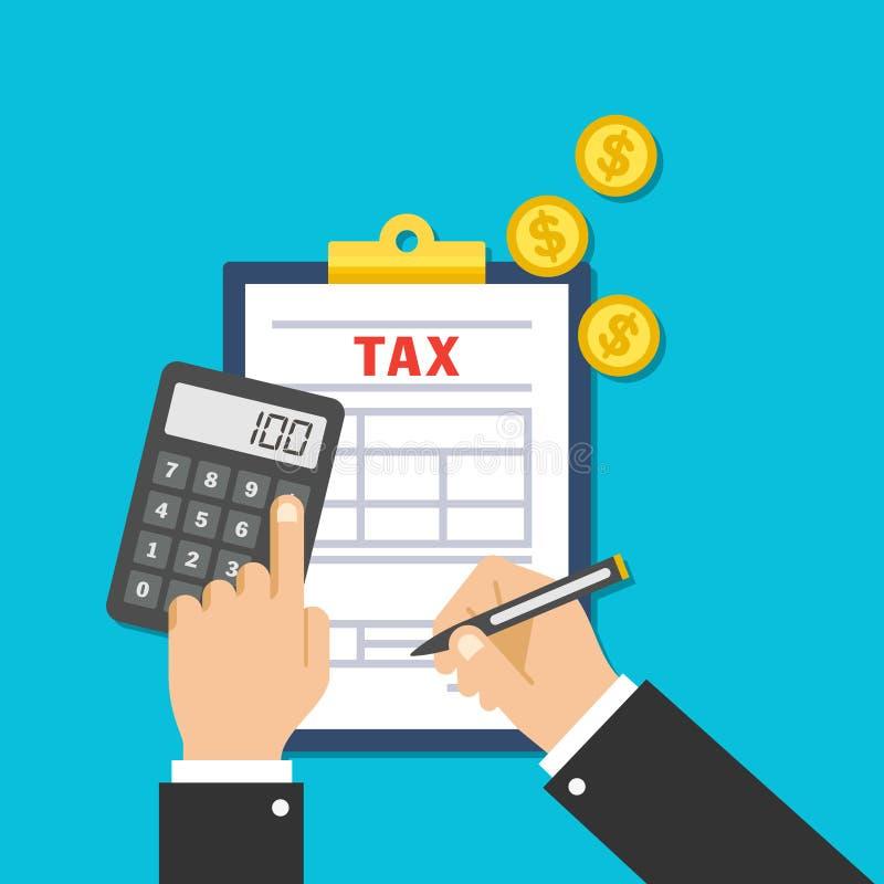 I revisori dei conti di imposta stanno compilando e stanno calcolando una forma di imposta per i commerci finanziari immagini stock libere da diritti