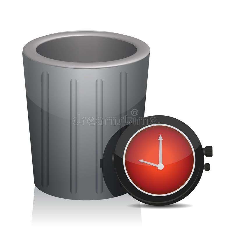 I rifiuti ed il temporizzatore guardano l'illustrazione illustrazione di stock