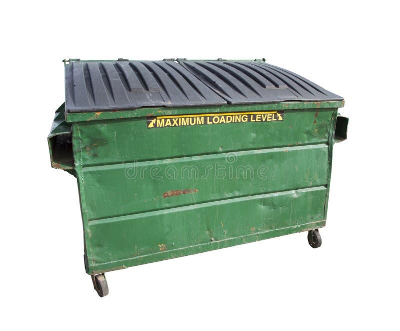 I rifiuti verdi o riciclano il bidone della spazzatura su bianco con il percorso di ritaglio fotografia stock libera da diritti