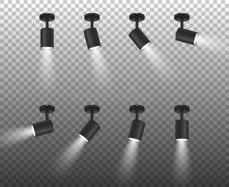 I riflettori realistici del nero 3d di vettore hanno messo in primo piano differente dei pendii isolato su fondo trasparente Mode royalty illustrazione gratis