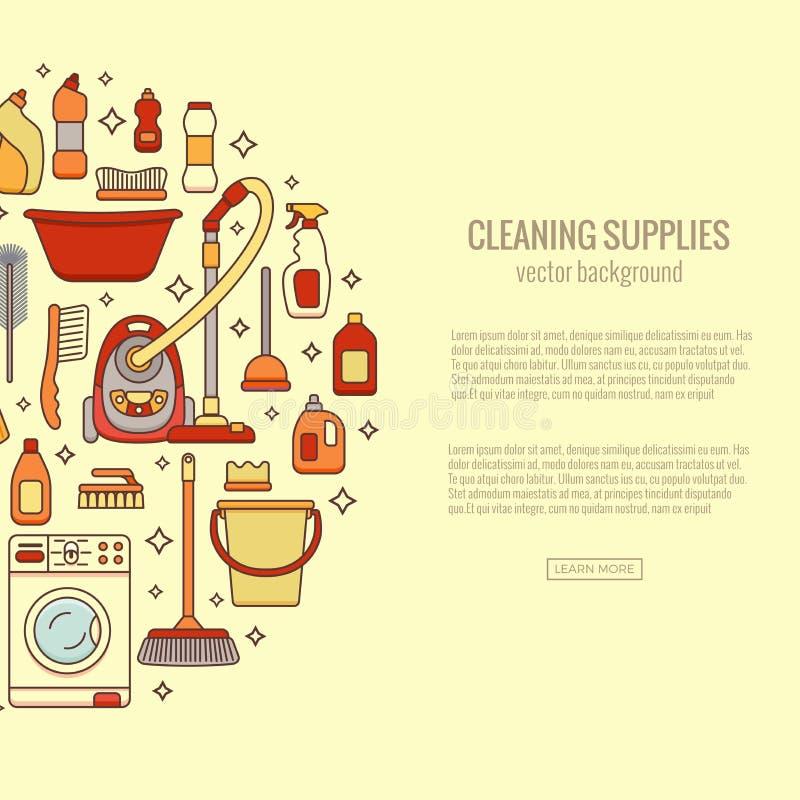 I rifornimenti di pulizia della famiglia hanno isolato le icone illustrazione di stock
