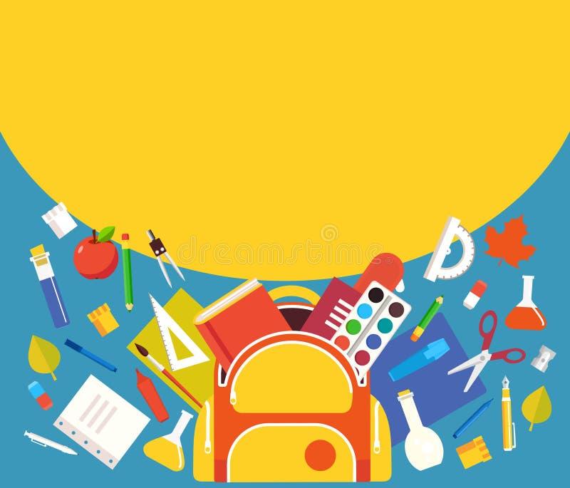 I rifornimenti di scuola dallo zaino, modello per le insegne progettano royalty illustrazione gratis
