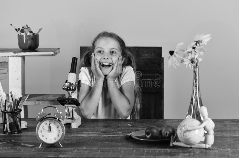 I rifornimenti di scuola e del bambino sull'aula rosa murano il fondo La ragazza con il fronte allegro si siede allo scrittorio L immagine stock