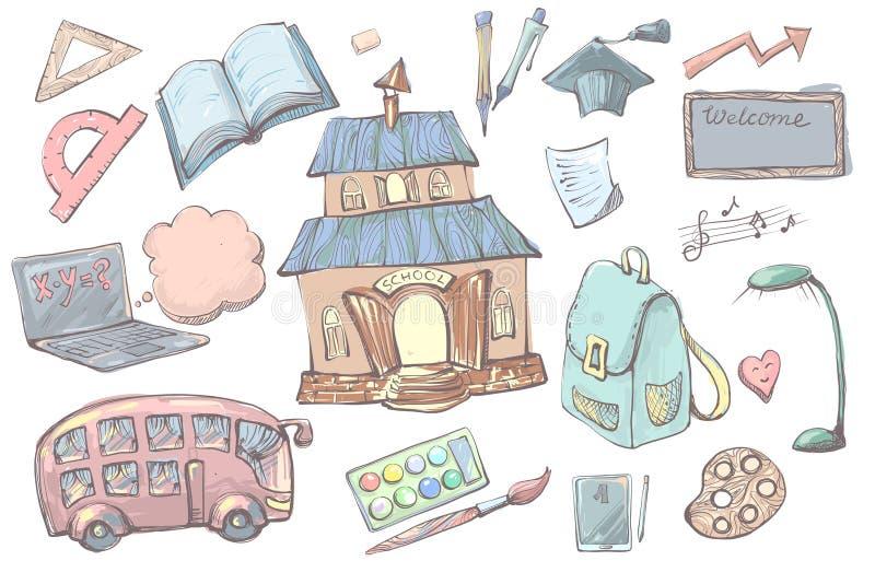 I rifornimenti e gli elementi di scuola disegnati a mano del fumetto hanno messo isolato su fondo bianco Di nuovo all'attrezzatur royalty illustrazione gratis