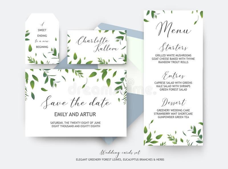 I risparmi di nozze la data, la carta del posto, etichetta cardano la progettazione di vettore La BO illustrazione vettoriale