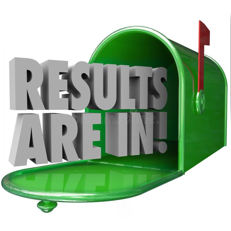 I risultati sono nelle parole verdi della cassetta delle lettere 3d del metallo royalty illustrazione gratis