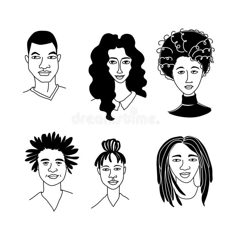 I ritratti degli uomini delle donne di colore dell'afroamericano di afro comunità Mono-etnica del gruppo illustrazione vettoriale