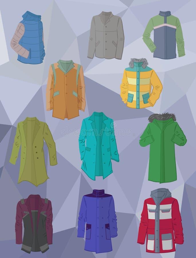 I rivestimenti ed i cappotti degli uomini nella progettazione piana illustrazione di stock