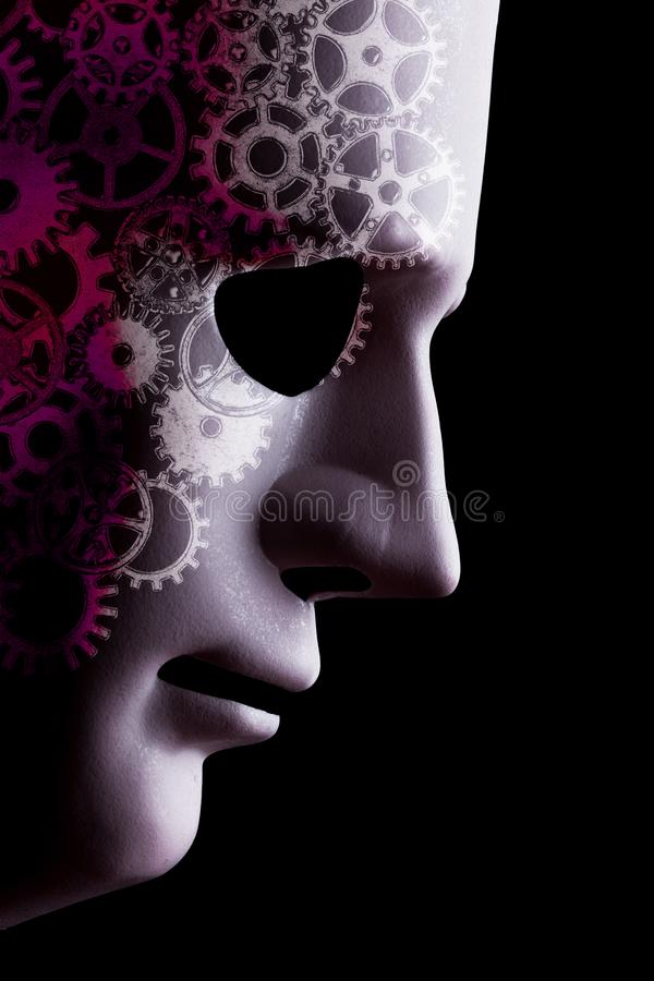 A.I. robotic face close up with cogs stock illustration