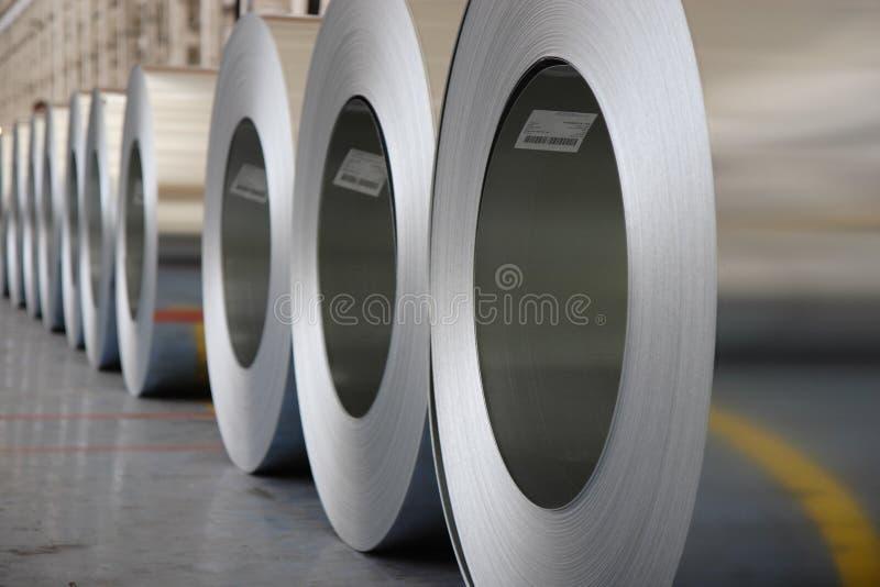 I rulli d'acciaio galvanizzati fotografia stock libera da diritti