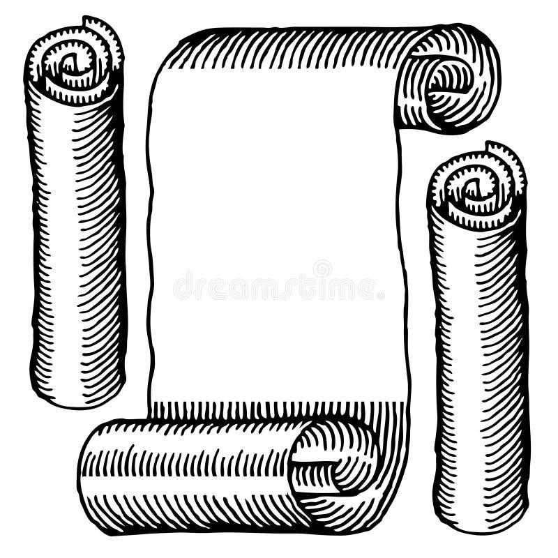 I rulli del documento hanno inciso in bianco e nero royalty illustrazione gratis