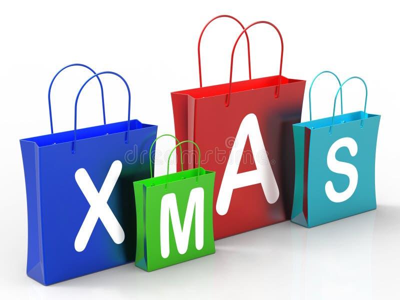 I sacchetti della spesa di natale mostrano le vendite al dettaglio o l'acquisto royalty illustrazione gratis