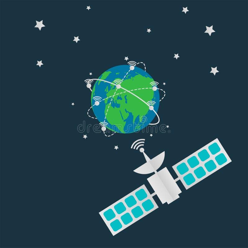 I satelliti di comunicazione in orbita la terra, antenna terrestre di radiodiffusione di Digital filano intorno il mondo Illustra illustrazione di stock