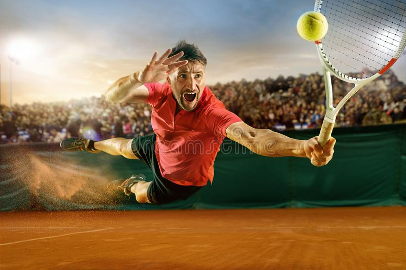 Download The One Jumping Player, Caucasian Fit Man, Playing Tennis On The Earthen Court With Spectators Stock Photo - Image of people, movement: 111251160