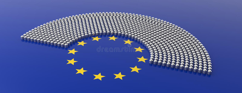 I sedili del Parlamento dell'Unione Europea e le stelle gialle circondano su fondo blu illustrazione 3D royalty illustrazione gratis