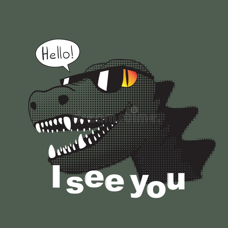 Free I See You Slogan And Dinosaur In Sunglasses With A Smile Say Hell Royalty Free Stock Photography - 149261147