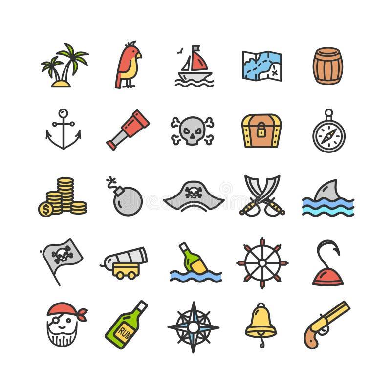 I segni del pirata colorano la linea sottile insieme dell'icona Vettore illustrazione di stock