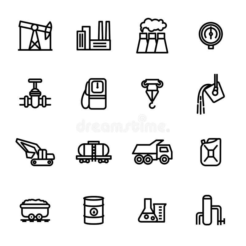 I segni dell'industria pesante anneriscono la linea sottile insieme dell'icona Vettore royalty illustrazione gratis