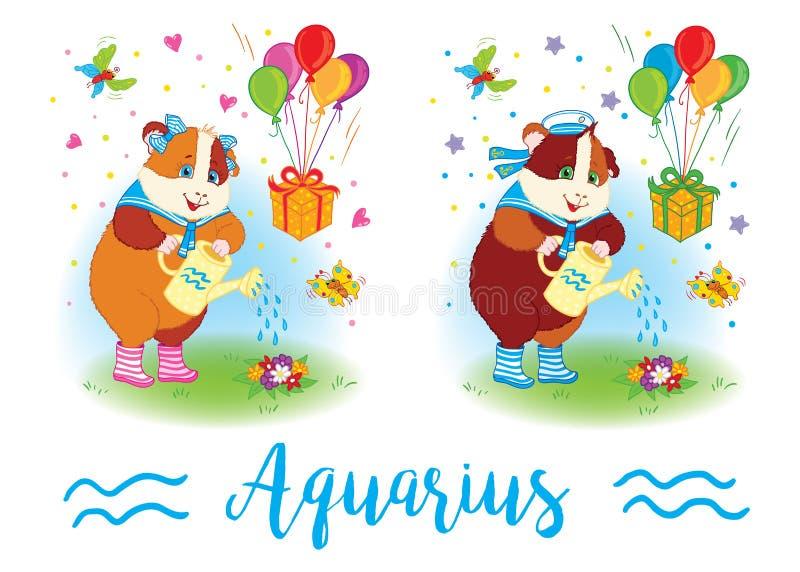 i segni dello zodiaco Cavia sulla spalla 6587 aquarius illustrazione di stock