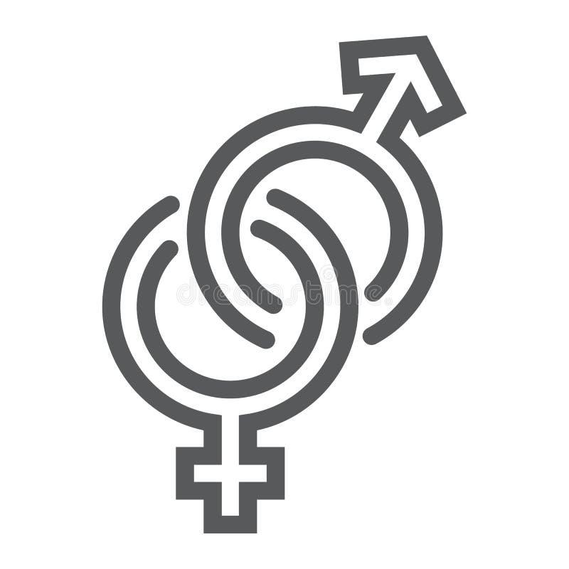 I segni di genere allineano l'icona, l'amore ed il sesso, il segno eterosessuale, la grafica vettoriale, un modello lineare su un illustrazione vettoriale