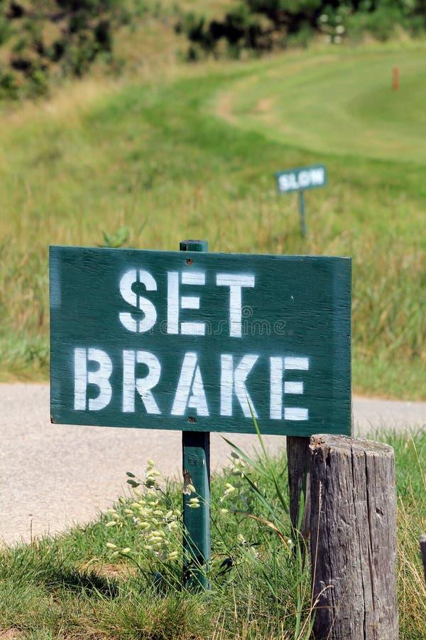 I segni di golf - freno stabilito e ritardano immagini stock